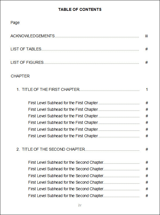 Table of content example for Table of contents