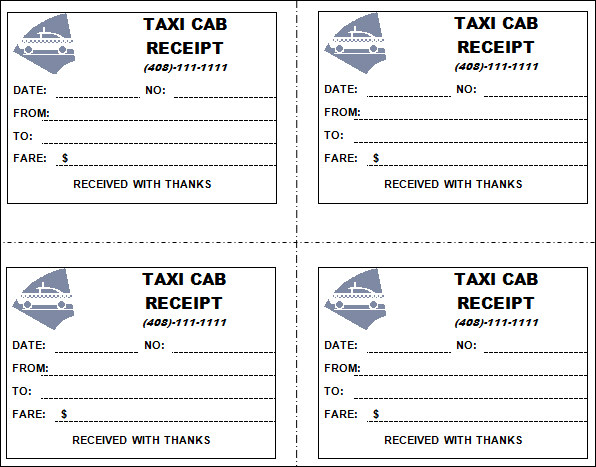 Taxi receipt template 11 free download for word pdf for Limo receipt template