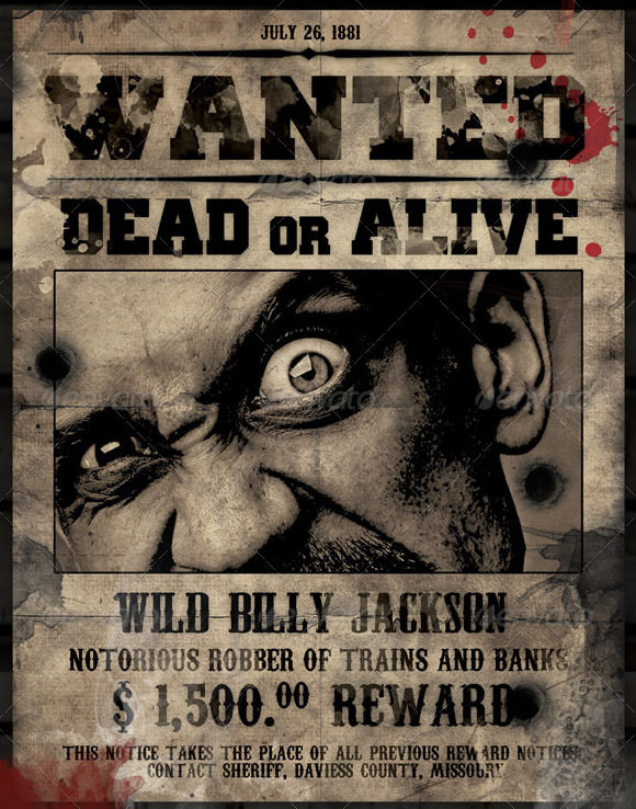 Wanted Poster Template PSD. Download