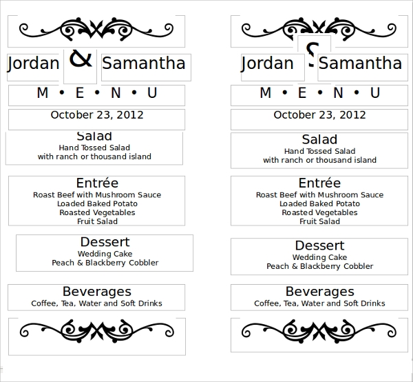 42 sample menu cards sample templates