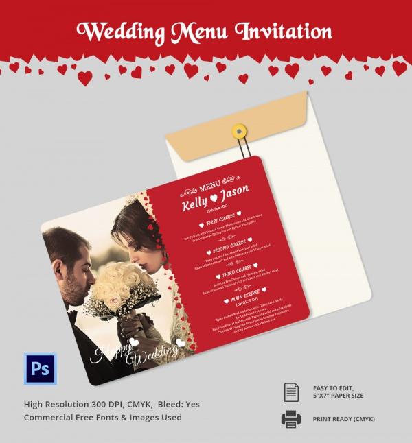 Wedding Menu Template: Wedding Menu Template 24+ Download In PDF, PSD, Word