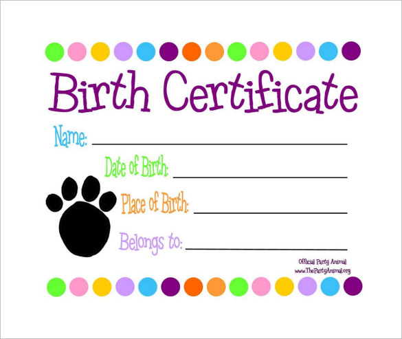 free download birth certificate pdf template