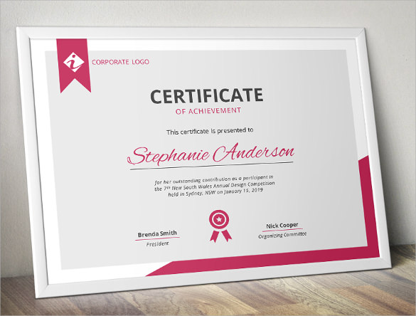 Certificate of Achievement Template  19 Download in PSD