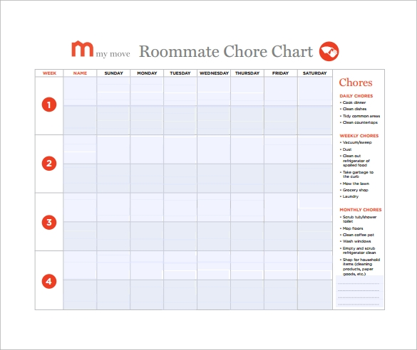 roommate chore chart free download in pdf