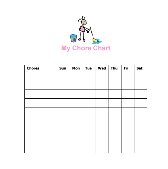 Sample Chore Chart 9 Documents in Word Excel PDF – Chore List Template