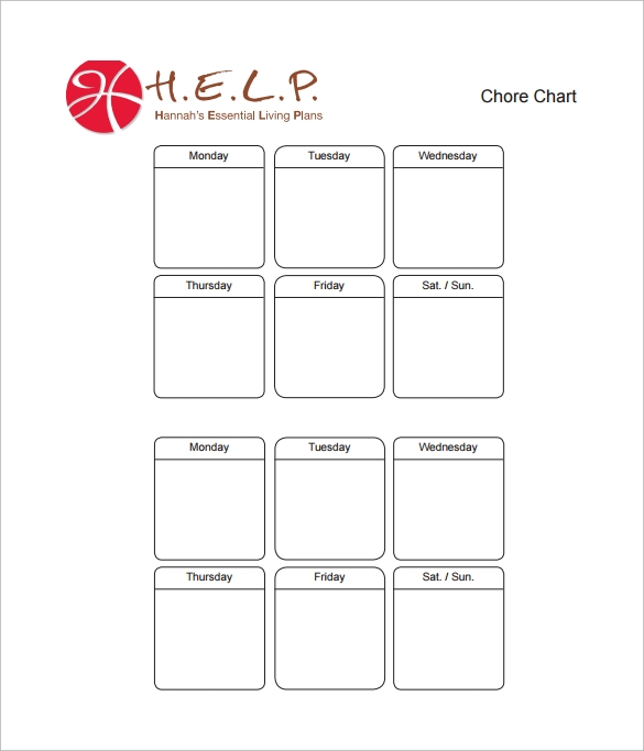 sample chore chart pdf template free download