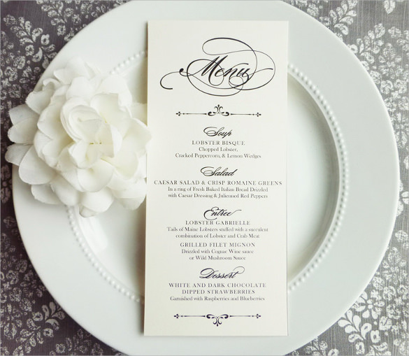 Universal image regarding free printable wedding menu template