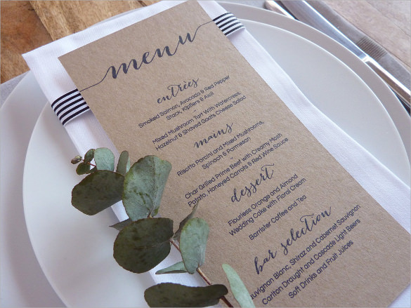 best wedding menu template