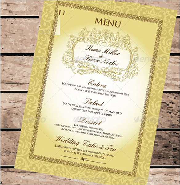 creative wedding menu template