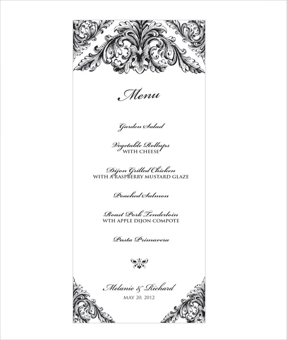 remarkable wedding menu template