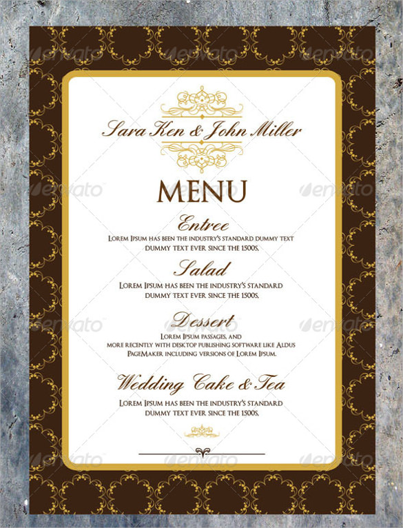 wedding invitation menu cards template