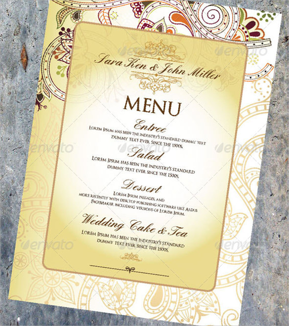 wedding menu template psd