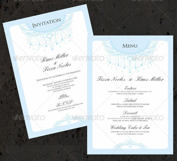 wedding menu template photoshop