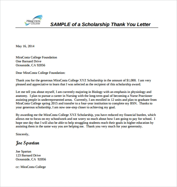 Sample Scholarship Thank You Letter   Documents In Pdf Word