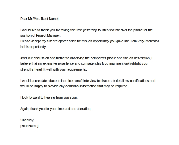 Sample Thank You Letter After Phone Interview 12 Free Documents – Thank You Letter After an Interview