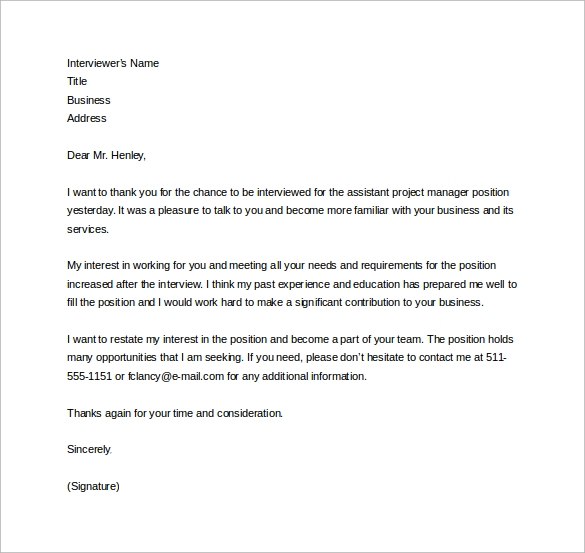 Thank you letter after visit thank you email after for Project manager email templates