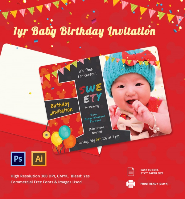 Sample invitation template download premium and free documents in pdf psd for First birthday board template