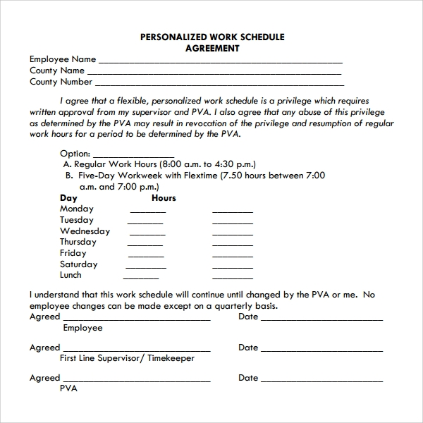 Work Attendance Agreement
