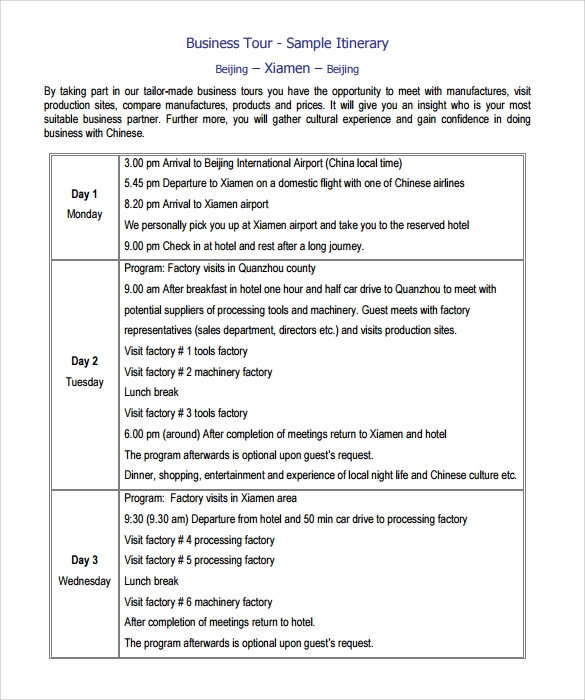 Sample Itinerary Template 9 Free Documents In Pdf