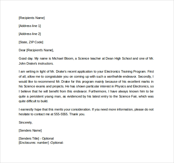 Formal letter of recommendation