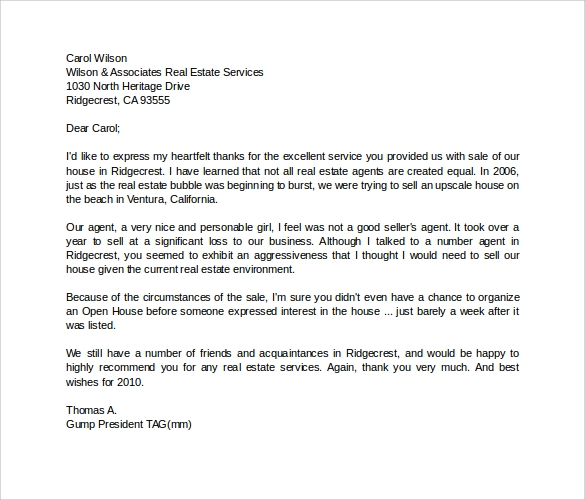 High Quality Personal Recommendation Letter For House Agent
