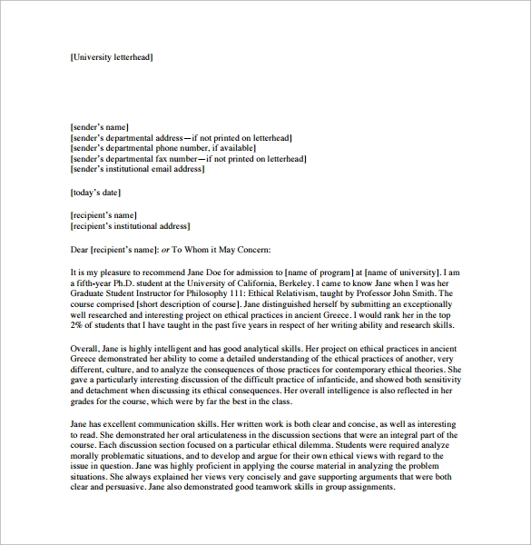 Sample Personal Letter of Recommendation 21 Download Free – Recommendation Letter for a Friend