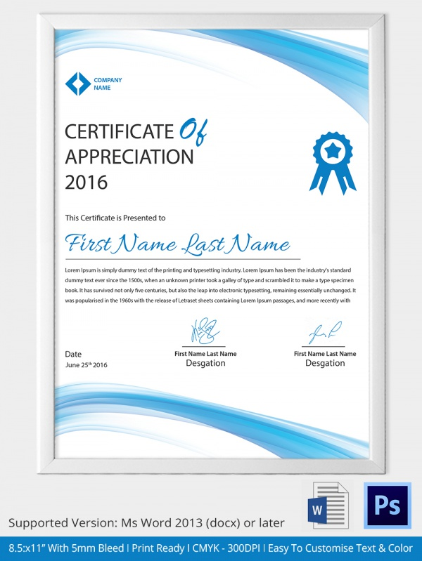 Certificate of Appreciation Template 13 Download in Word PDF – Certificate of Appreciation Verbiage