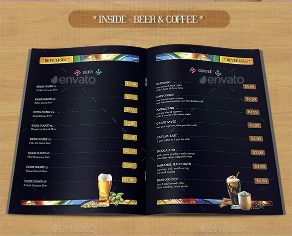 attractive bar menu template