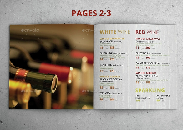 beautiful bar menu template