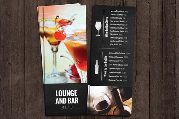 bar menu template