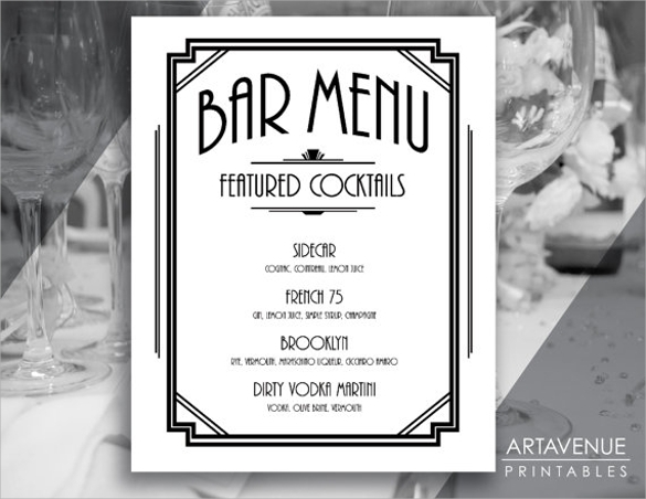 custom bar menu template