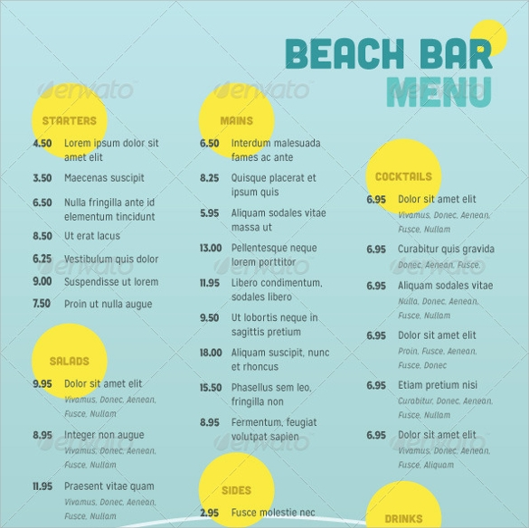 beach bar menu template