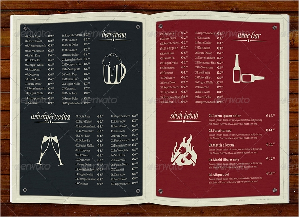 fabulous bar menu template