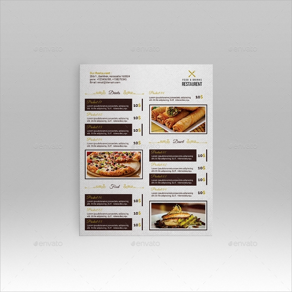 attractive menu card template