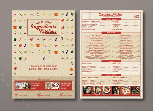 Sample Menu Design Templates