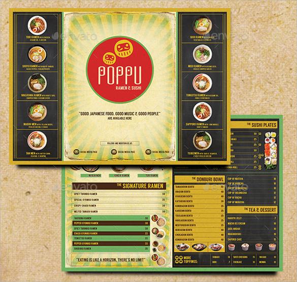 japanese bistro menu card template