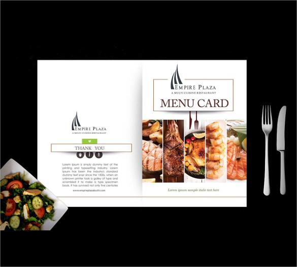 beautiful menu card template