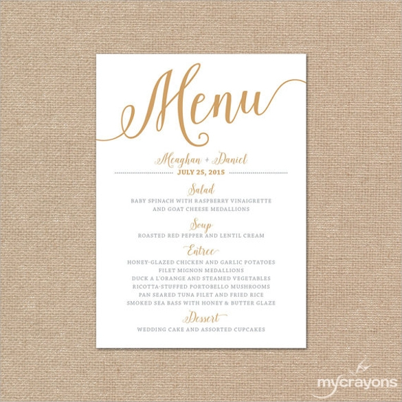 Sample menu card template 29 download in psd pdf word for Menu templates for weddings