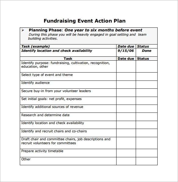 Good Fundraising Event Action Planning Free Download In PDF Ideas Event Planning Template Free
