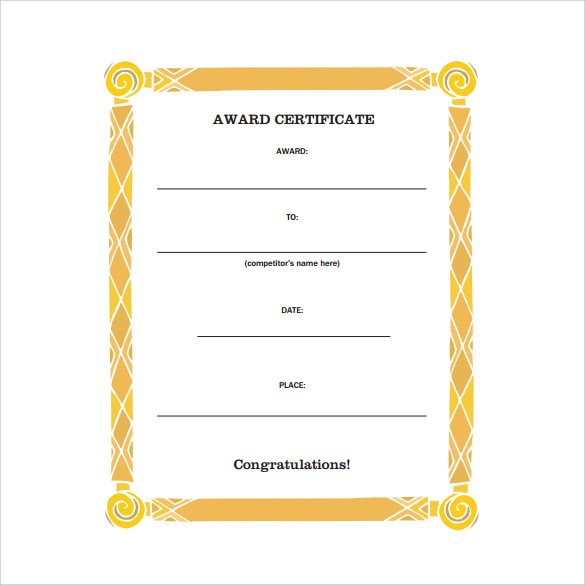 attractive award certificate template