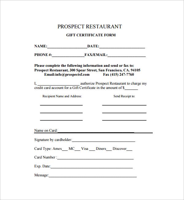 restaurant gift certificate templates