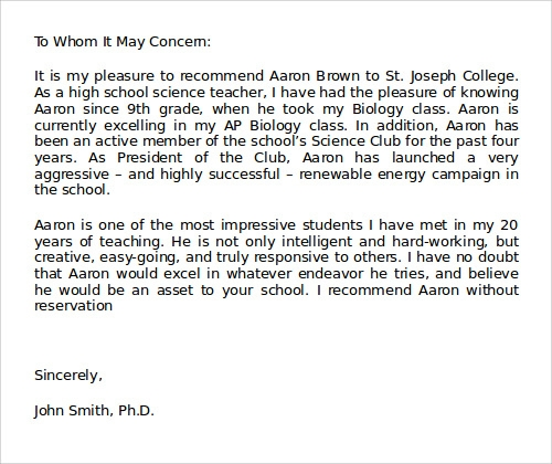 college recommendation letter from teacher