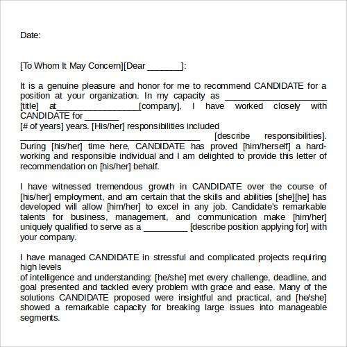 recommendation letter template templates pinterest