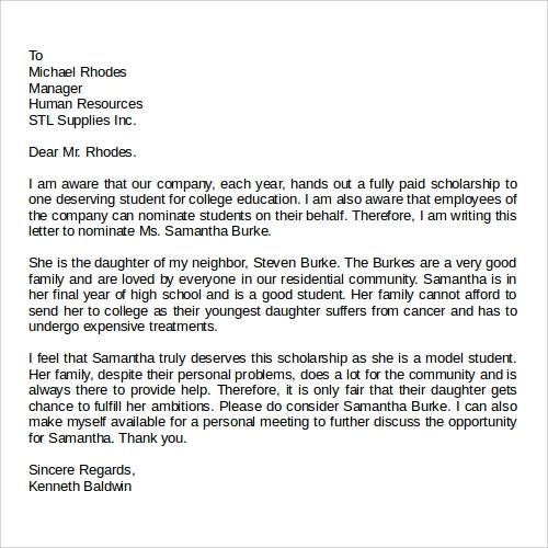 Printable Scholarship Recommendation Letters Example Letter Of