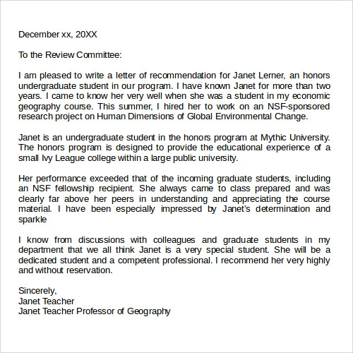 Letter Of Recommendation For Graduate School Download. Details. File Format