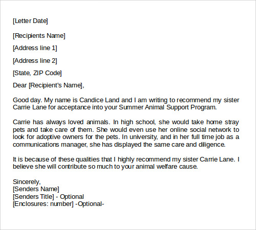 Letters Of Recommendation Templates  Example Letter Of Recommendation