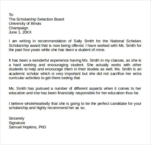 Printable Scholarship Recommendation Letters Example  Letter Of Recommendation