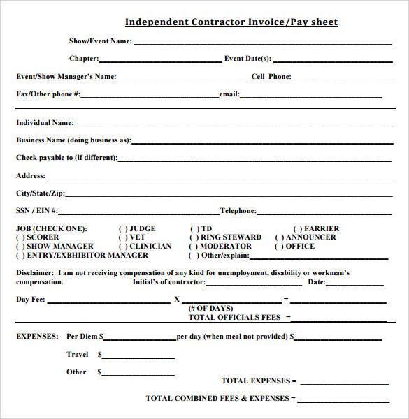 Contractor Invoice Form Patrofiloclub