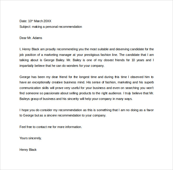 Free Letter Of Recommendation Format Sample Template