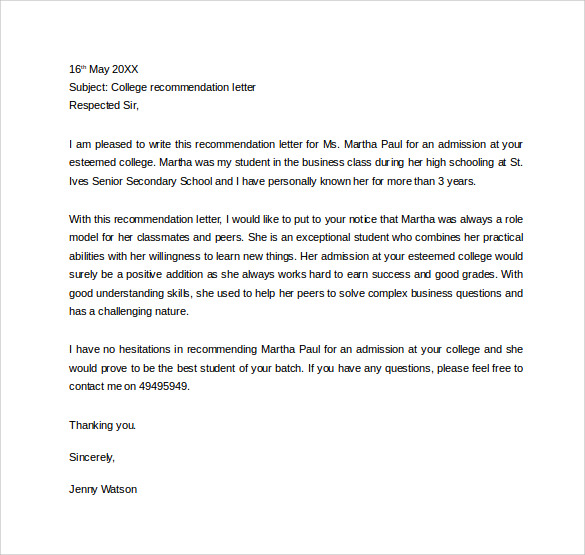 personal letter of recommendation for college